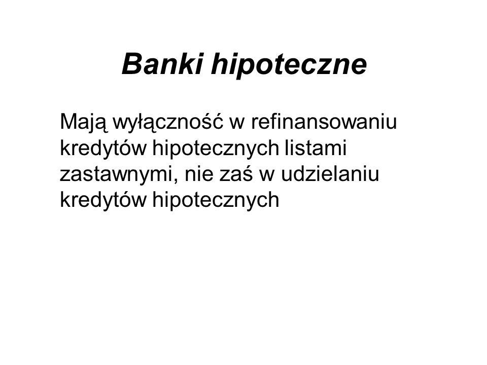 Banki hipoteczne Mają wyłączność w refinansowaniu kredytów hipotecznych listami zastawnymi, nie zaś w udzielaniu kredytów hipotecznych.