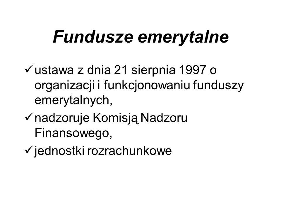 Fundusze emerytalne ustawa z dnia 21 sierpnia 1997 o organizacji i funkcjonowaniu funduszy emerytalnych,