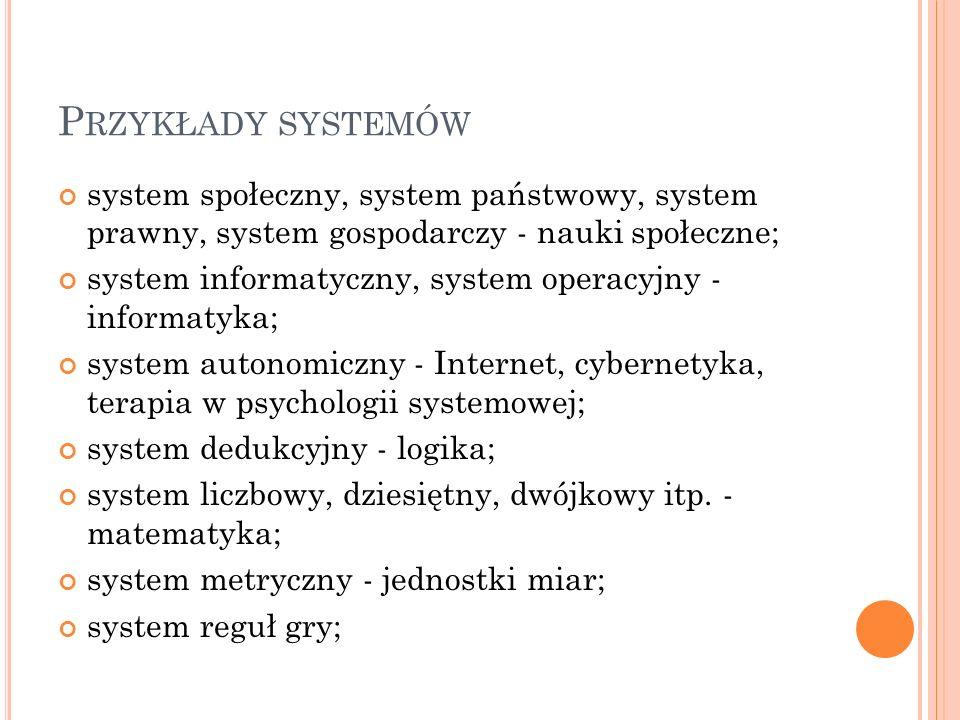 Przykłady systemów system społeczny, system państwowy, system prawny, system gospodarczy - nauki społeczne;