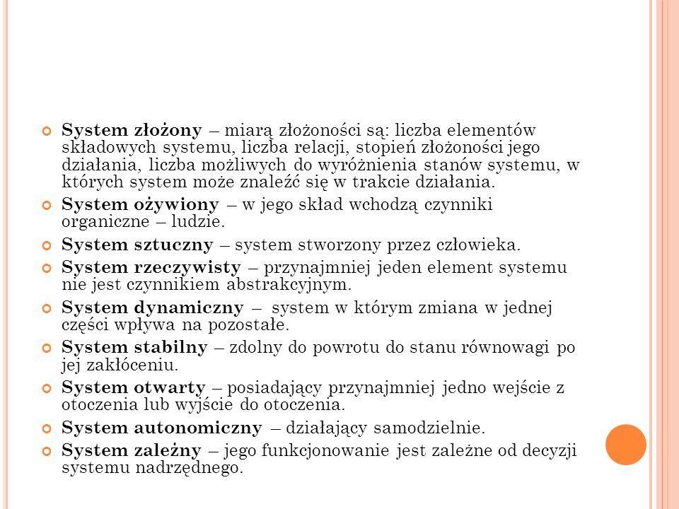 System złożony – miarą złożoności są: liczba elementów składowych systemu, liczba relacji, stopień złożoności jego działania, liczba możliwych do wyróżnienia stanów systemu, w których system może znaleźć się w trakcie działania.