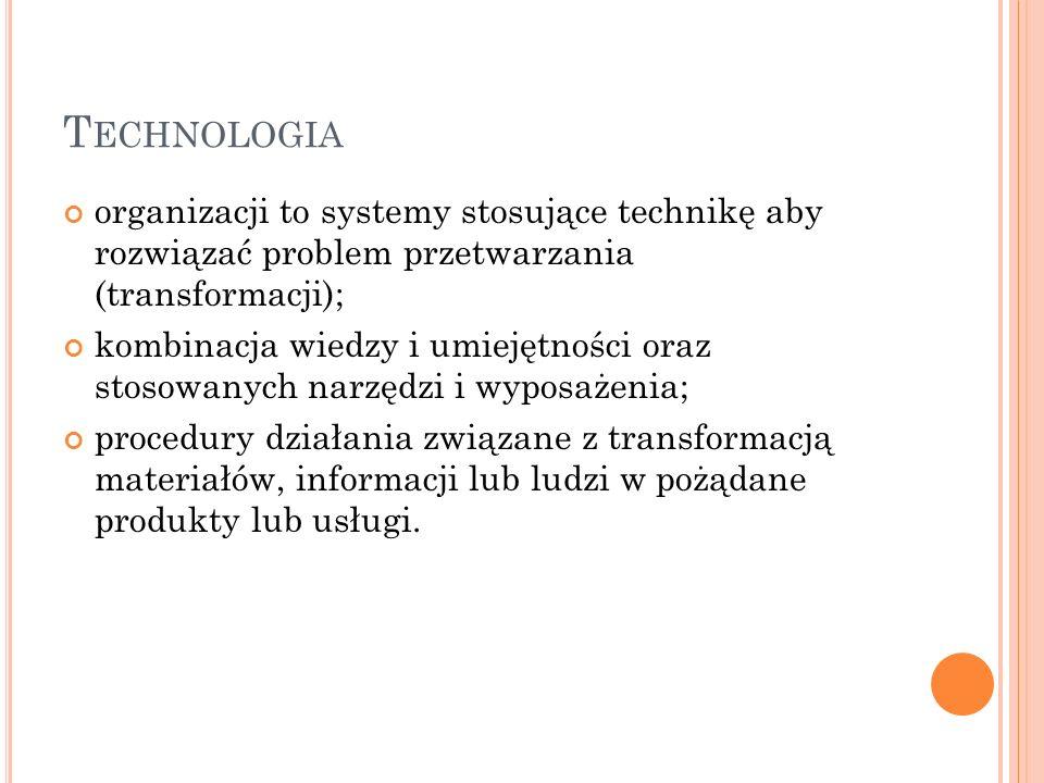 Technologia organizacji to systemy stosujące technikę aby rozwiązać problem przetwarzania (transformacji);