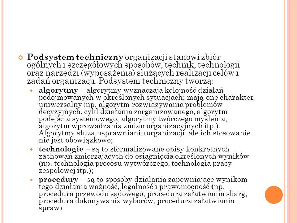 Podsystem techniczny organizacji stanowi zbiór ogólnych i szczegółowych sposobów, technik, technologii oraz narzędzi (wyposażenia) służących realizacji celów i zadań organizacji. Podsystem techniczny tworzą: