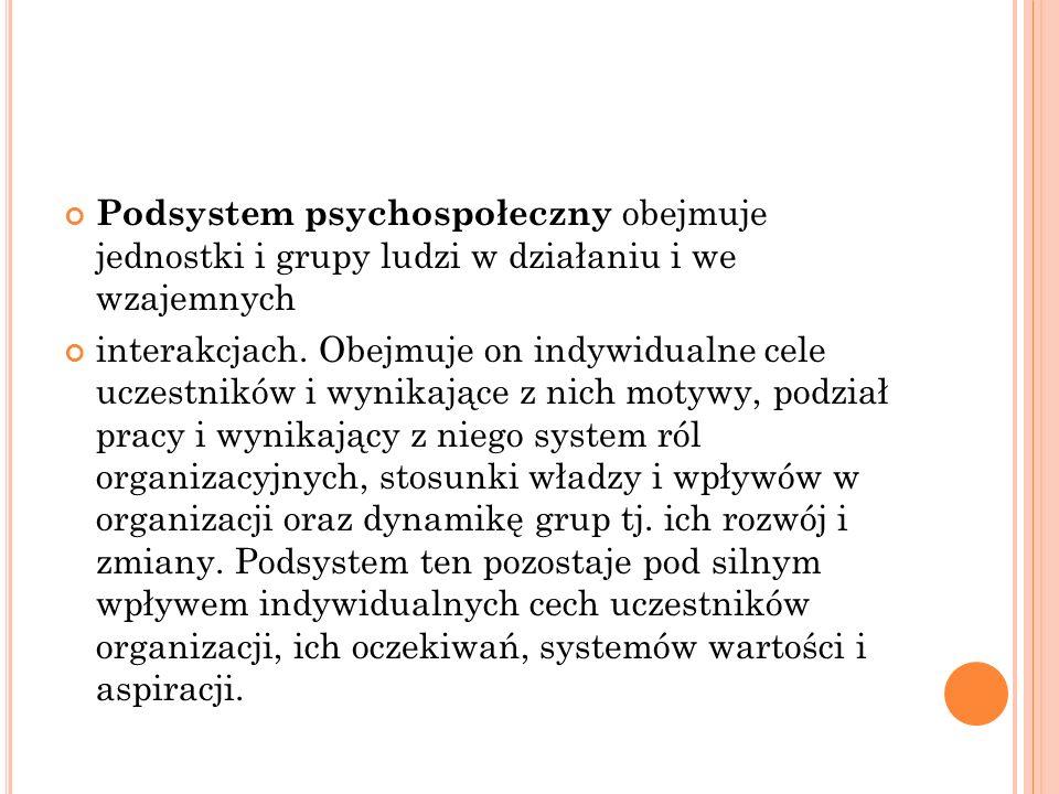 Podsystem psychospołeczny obejmuje jednostki i grupy ludzi w działaniu i we wzajemnych