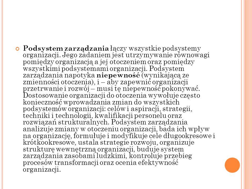 Podsystem zarządzania łączy wszystkie podsystemy organizacji