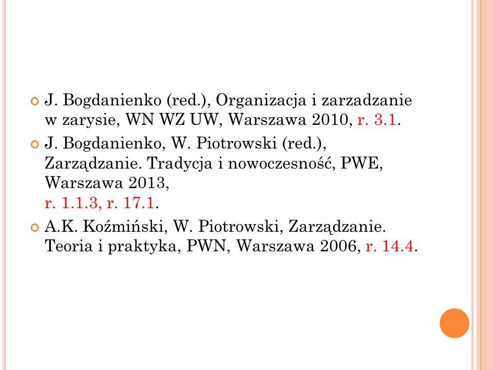 J. Bogdanienko (red.), Organizacja i zarzadzanie w zarysie, WN WZ UW, Warszawa 2010, r. 3.1.