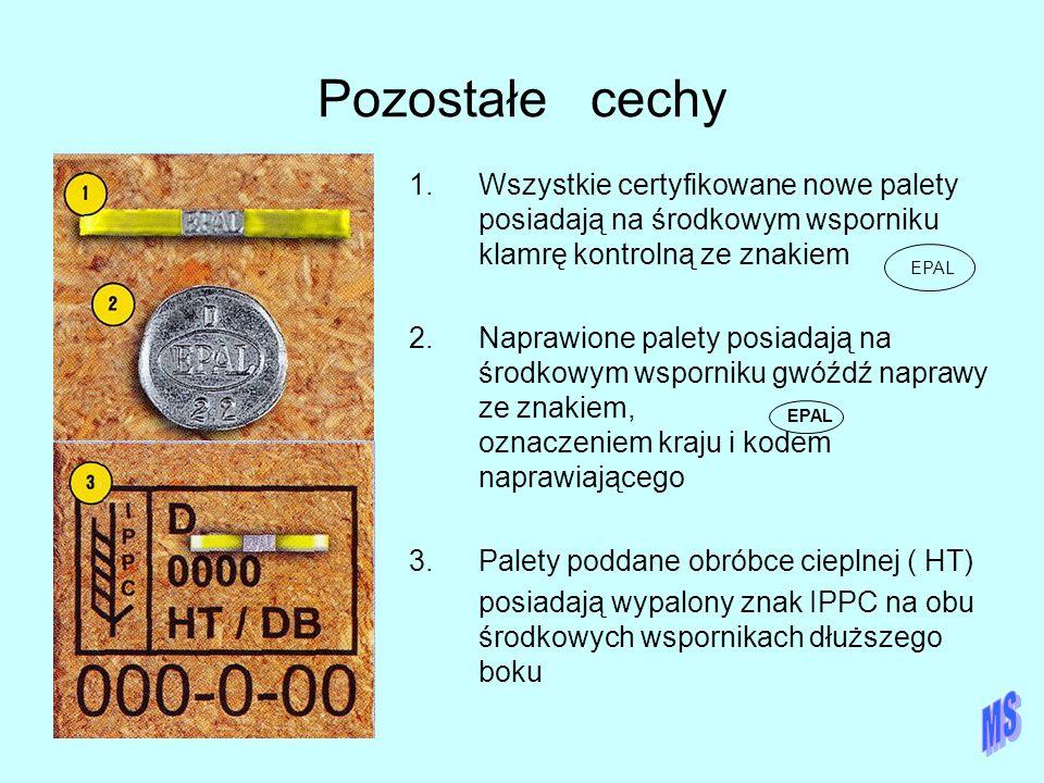 Pozostałe cechy Wszystkie certyfikowane nowe palety posiadają na środkowym wsporniku klamrę kontrolną ze znakiem.