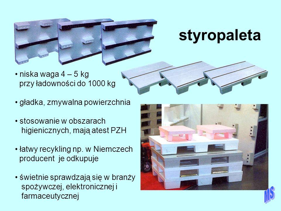 styropaleta niska waga 4 – 5 kg przy ładowności do 1000 kg