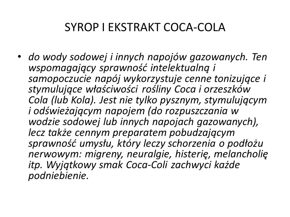 SYROP I EKSTRAKT COCA-COLA