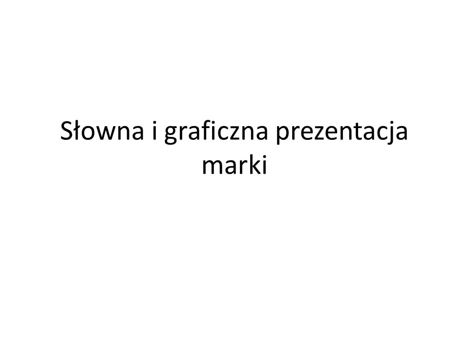 Słowna i graficzna prezentacja marki