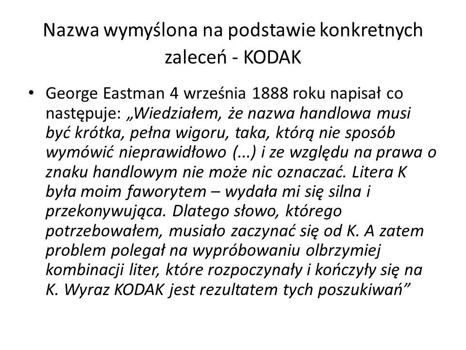Nazwa wymyślona na podstawie konkretnych zaleceń - KODAK