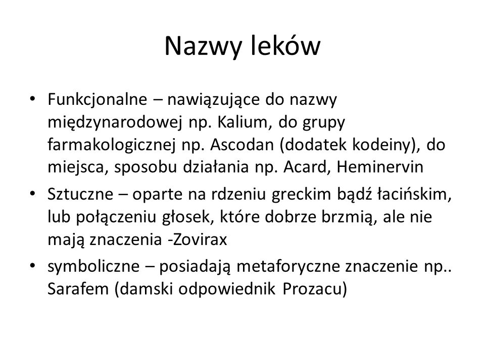 Nazwy leków