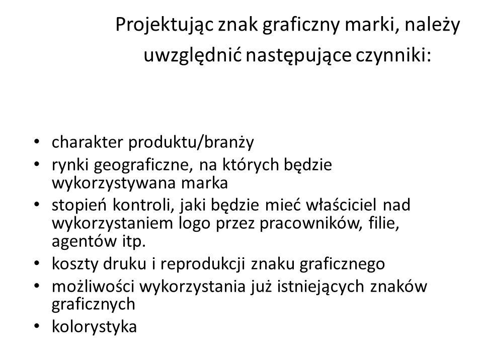 Projektując znak graficzny marki, należy uwzględnić następujące czynniki: