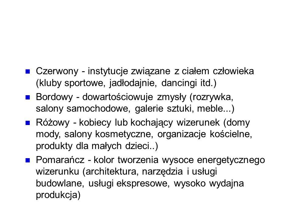 Kolory Czerwony - instytucje związane z ciałem człowieka (kluby sportowe, jadłodajnie, dancingi itd.)