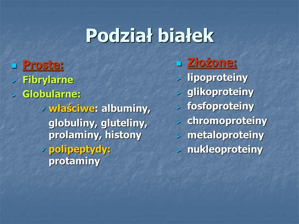 Podział białek Złożone: Proste: lipoproteiny Fibrylarne glikoproteiny
