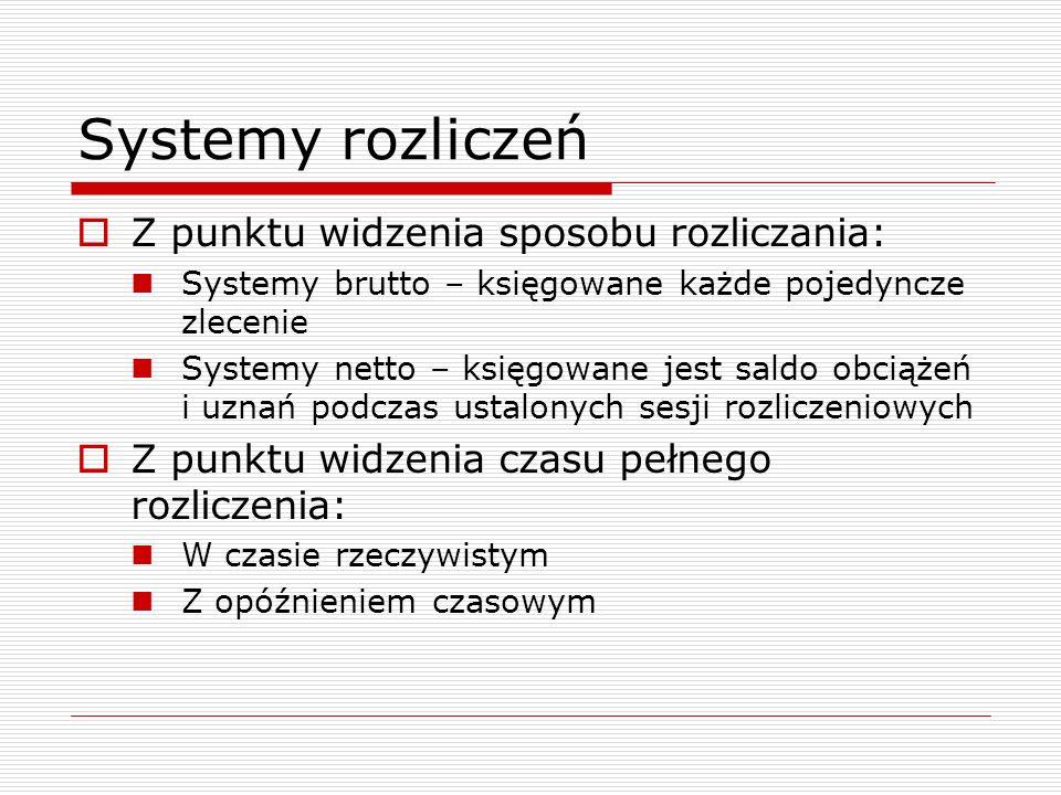 Systemy rozliczeń Z punktu widzenia sposobu rozliczania: