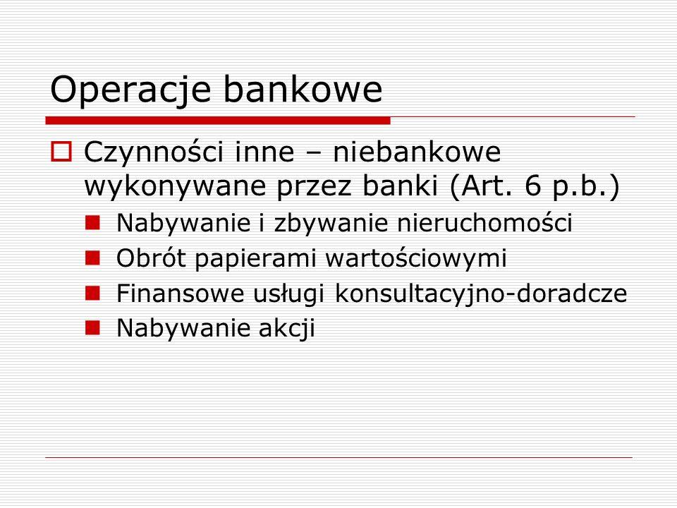 Operacje bankowe Czynności inne – niebankowe wykonywane przez banki (Art. 6 p.b.) Nabywanie i zbywanie nieruchomości.
