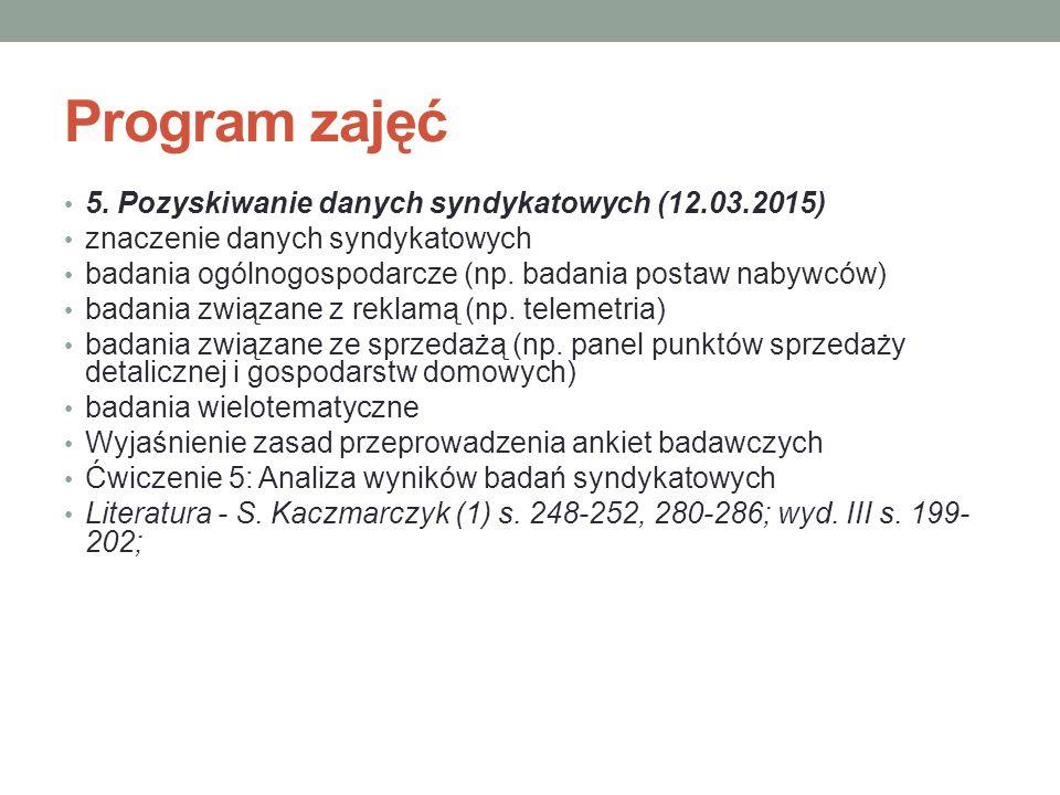 Program zajęć 5. Pozyskiwanie danych syndykatowych (12.03.2015)