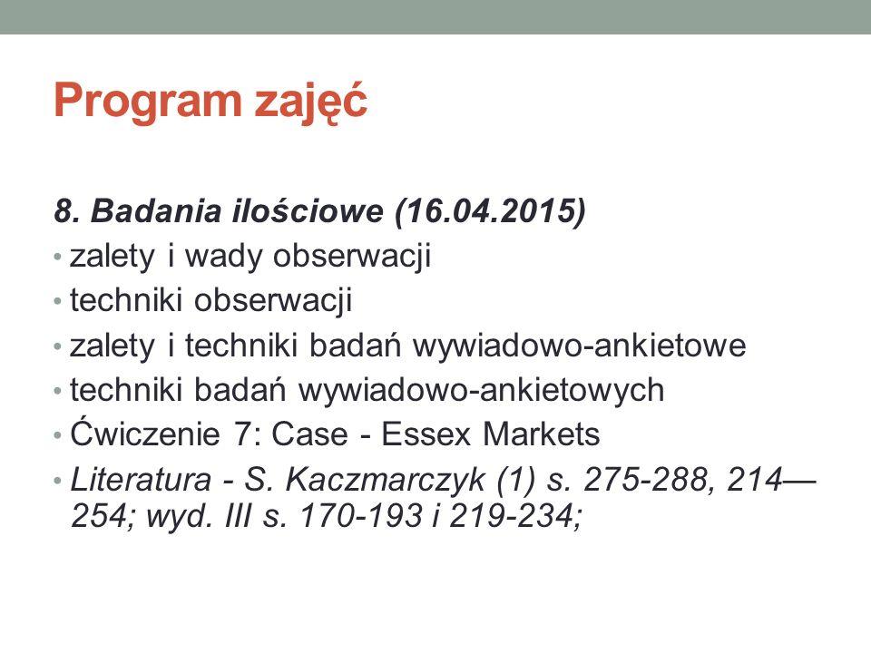 Program zajęć 8. Badania ilościowe (16.04.2015)