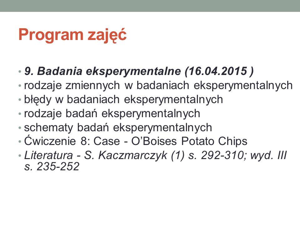 Program zajęć 9. Badania eksperymentalne (16.04.2015 )