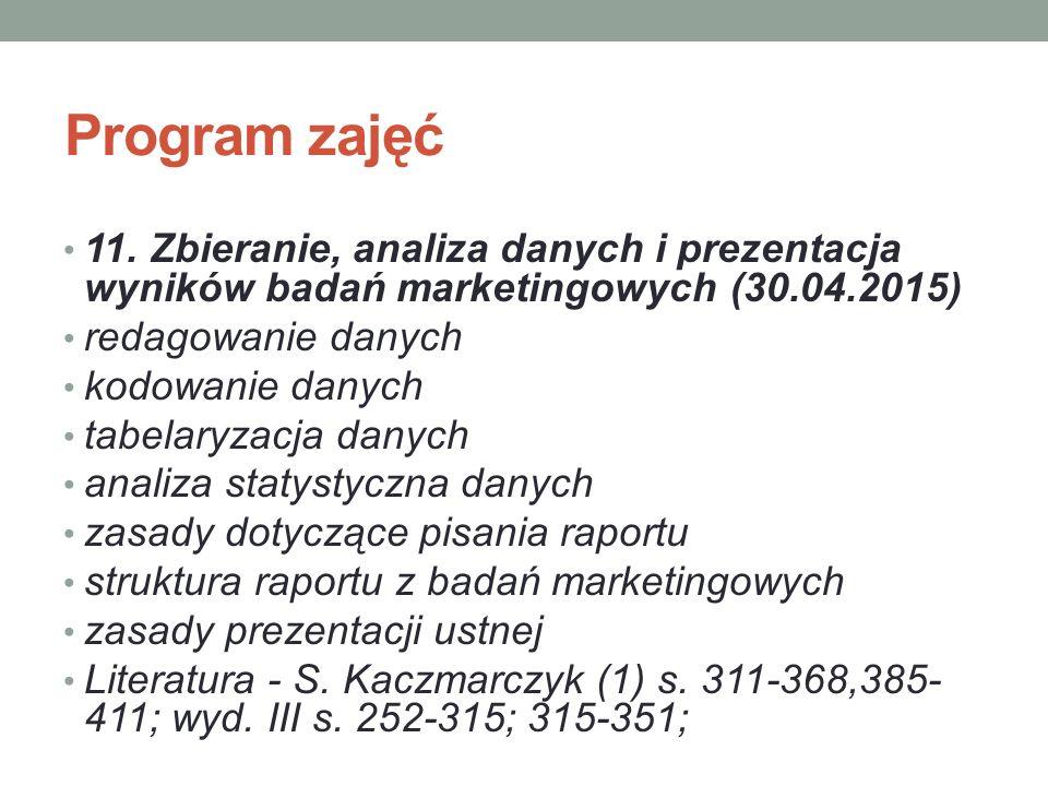 Program zajęć 11. Zbieranie, analiza danych i prezentacja wyników badań marketingowych (30.04.2015)