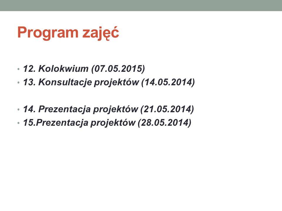 Program zajęć 12. Kolokwium (07.05.2015)