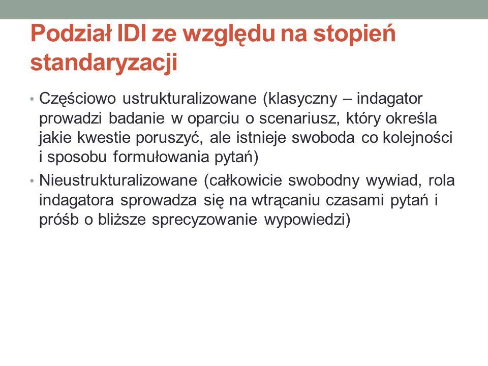 Podział IDI ze względu na stopień standaryzacji