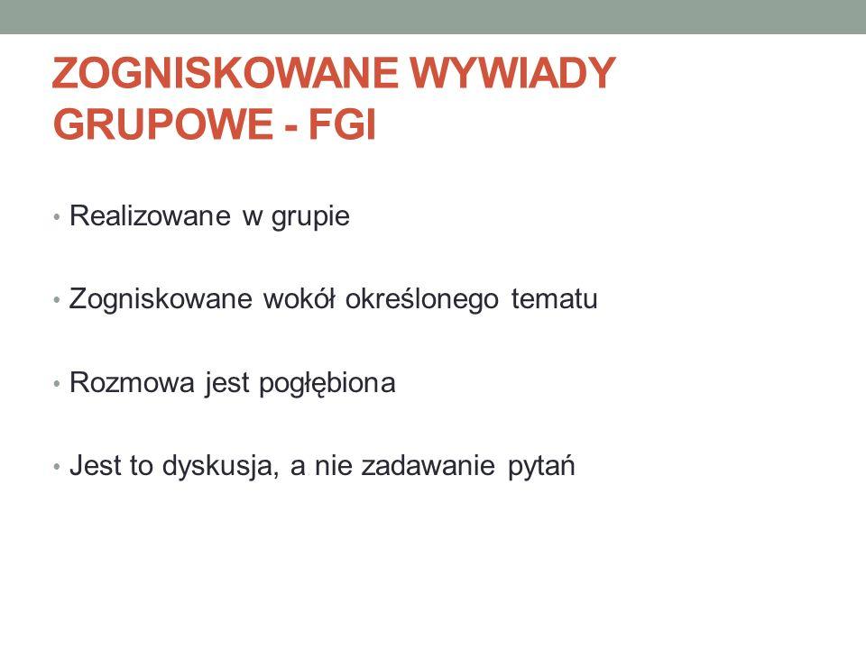 ZOGNISKOWANE WYWIADY GRUPOWE - FGI