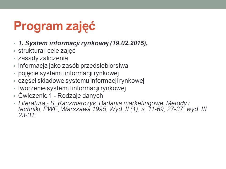 Program zajęć 1. System informacji rynkowej (19.02.2015),
