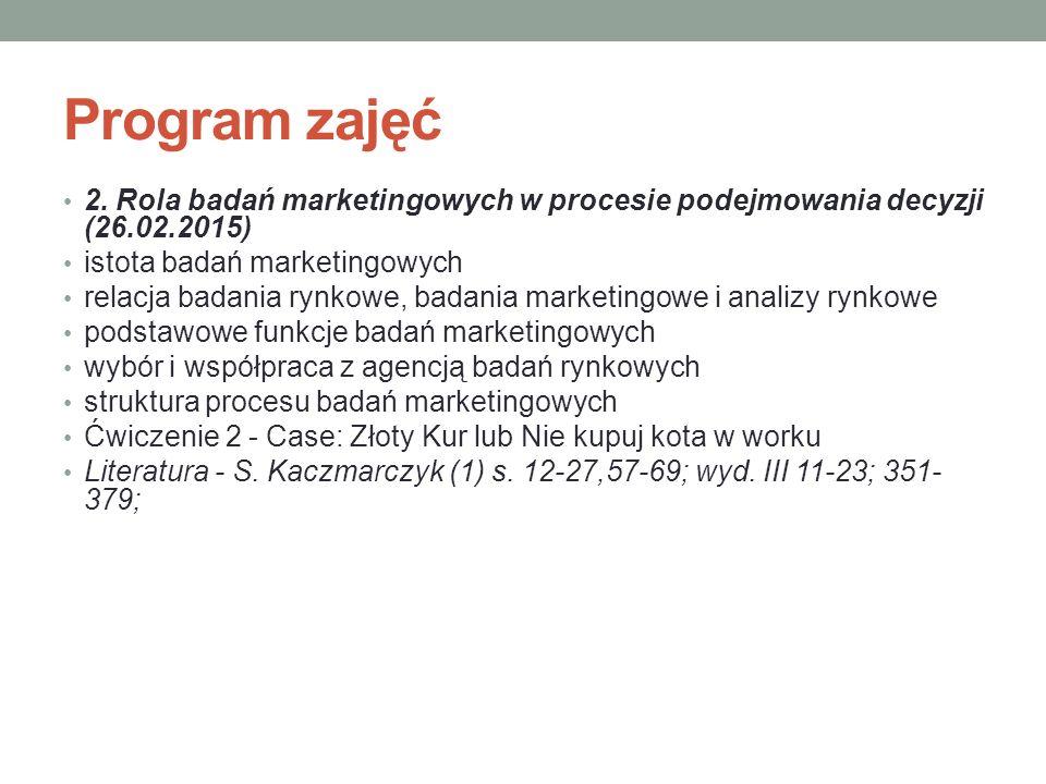 Program zajęć 2. Rola badań marketingowych w procesie podejmowania decyzji (26.02.2015) istota badań marketingowych.