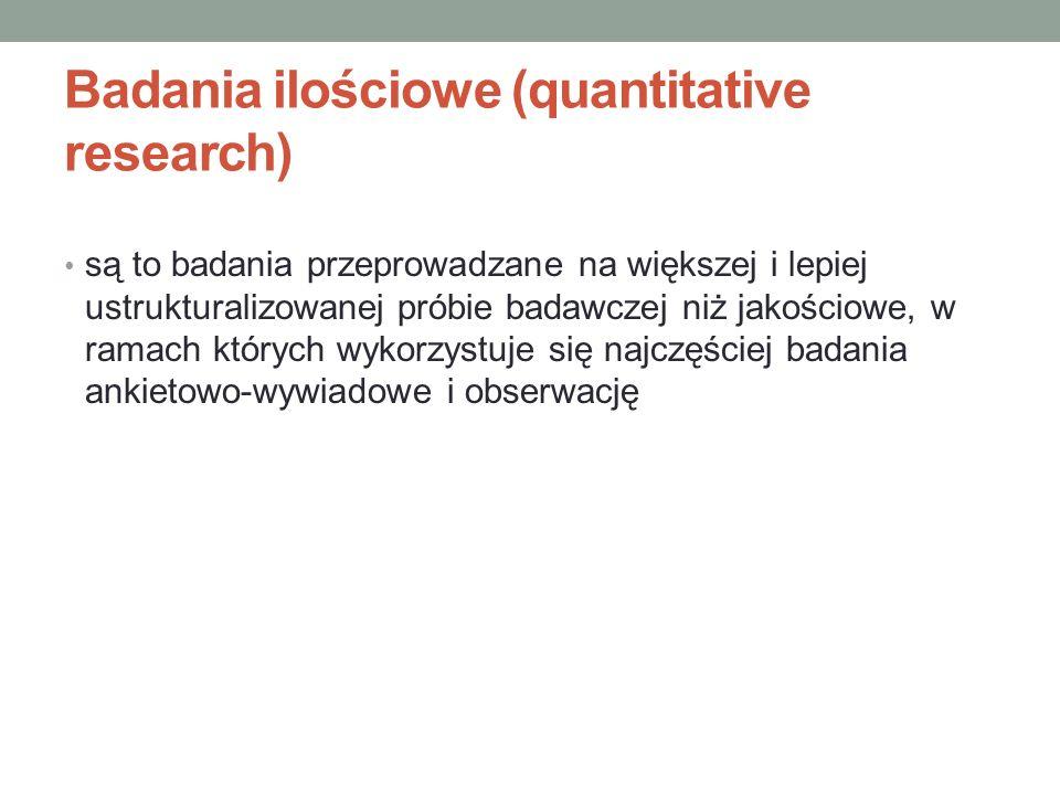 Badania ilościowe (quantitative research)