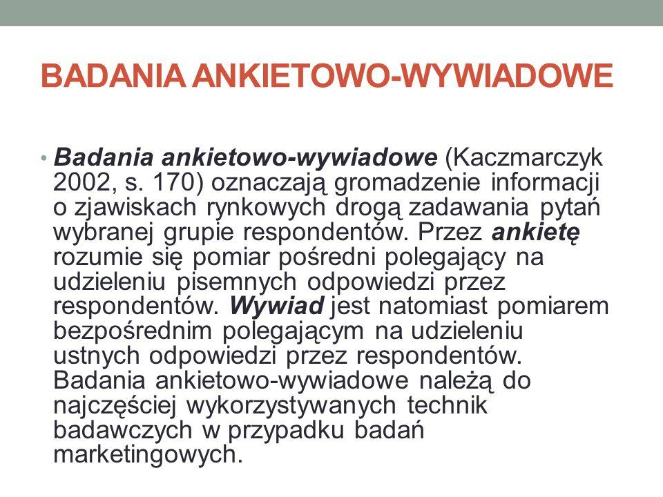 BADANIA ANKIETOWO-WYWIADOWE