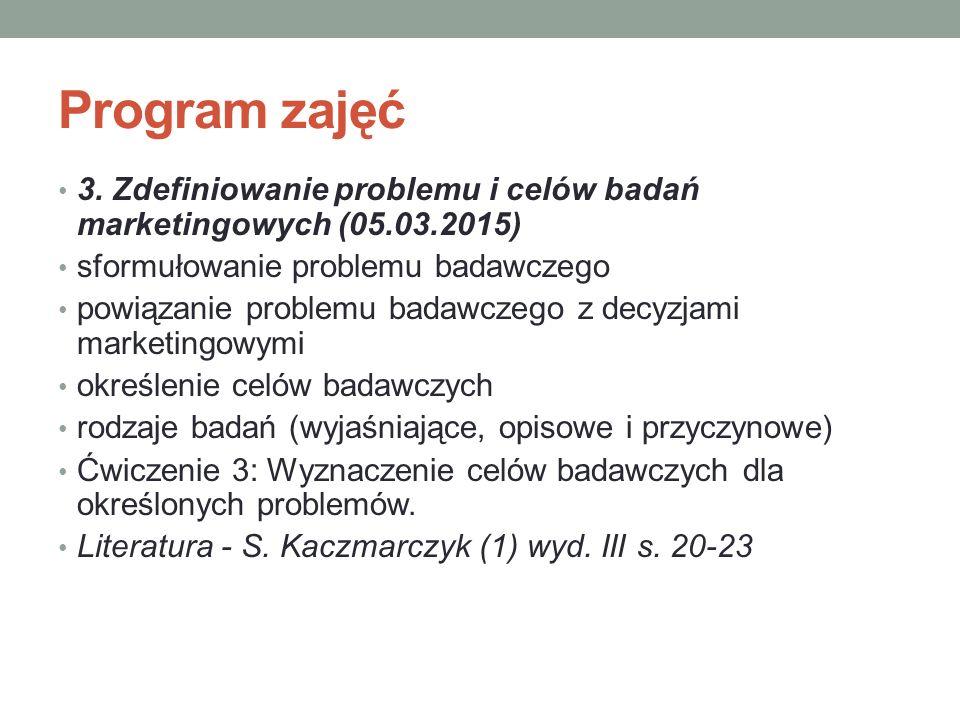 Program zajęć 3. Zdefiniowanie problemu i celów badań marketingowych (05.03.2015) sformułowanie problemu badawczego.