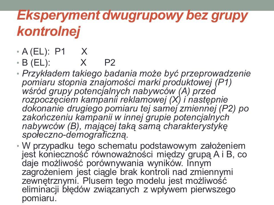Eksperyment dwugrupowy bez grupy kontrolnej