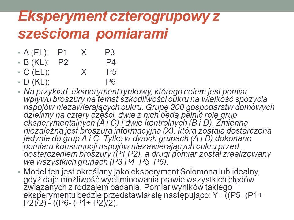 Eksperyment czterogrupowy z sześcioma pomiarami