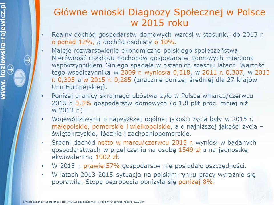 Główne wnioski Diagnozy Społecznej w Polsce w 2015 roku