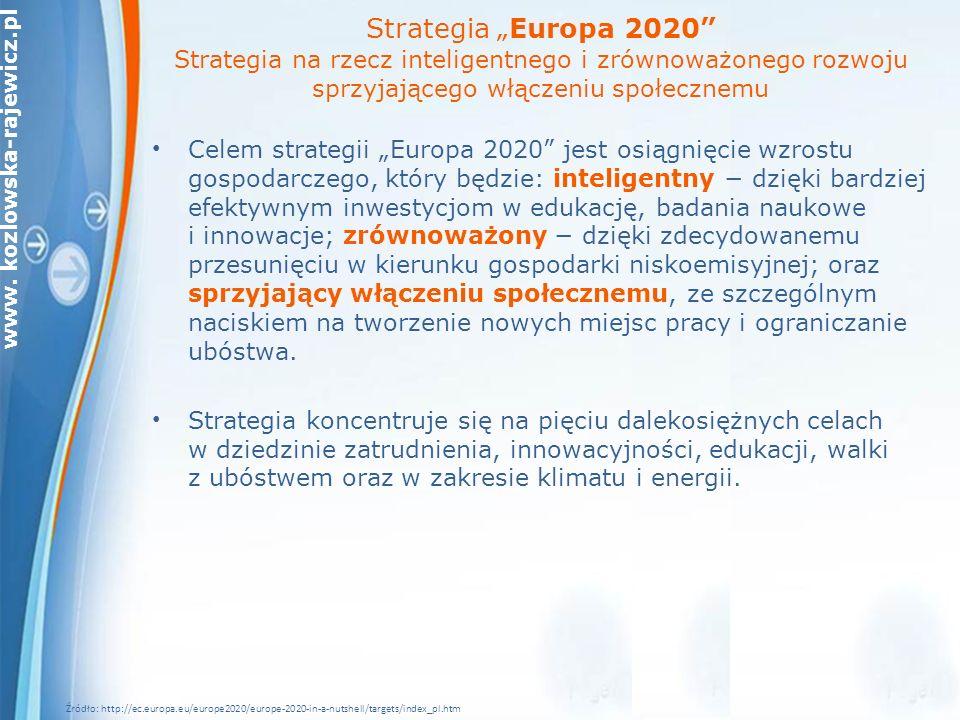 """Strategia """"Europa 2020 Strategia na rzecz inteligentnego i zrównoważonego rozwoju sprzyjającego włączeniu społecznemu"""