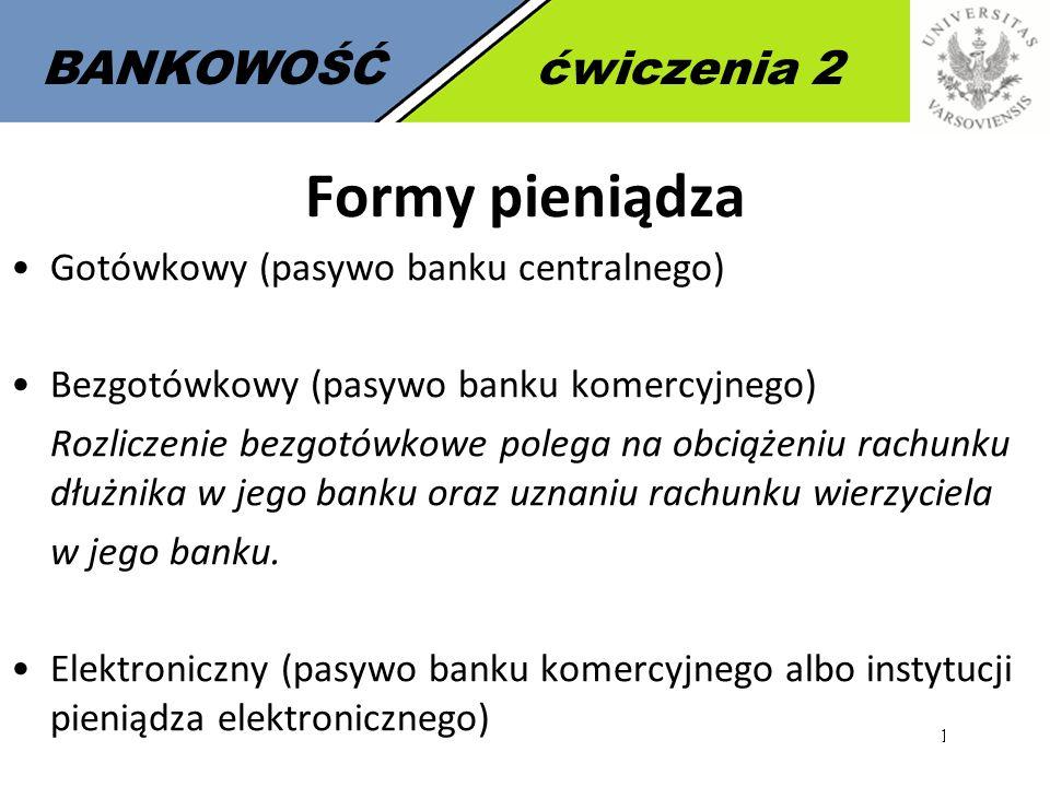 Formy pieniądza BANKOWOŚĆ ćwiczenia 2