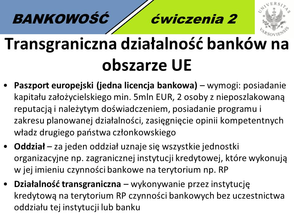 Transgraniczna działalność banków na obszarze UE