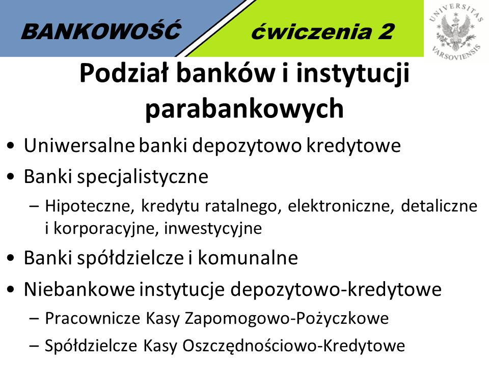 Podział banków i instytucji parabankowych
