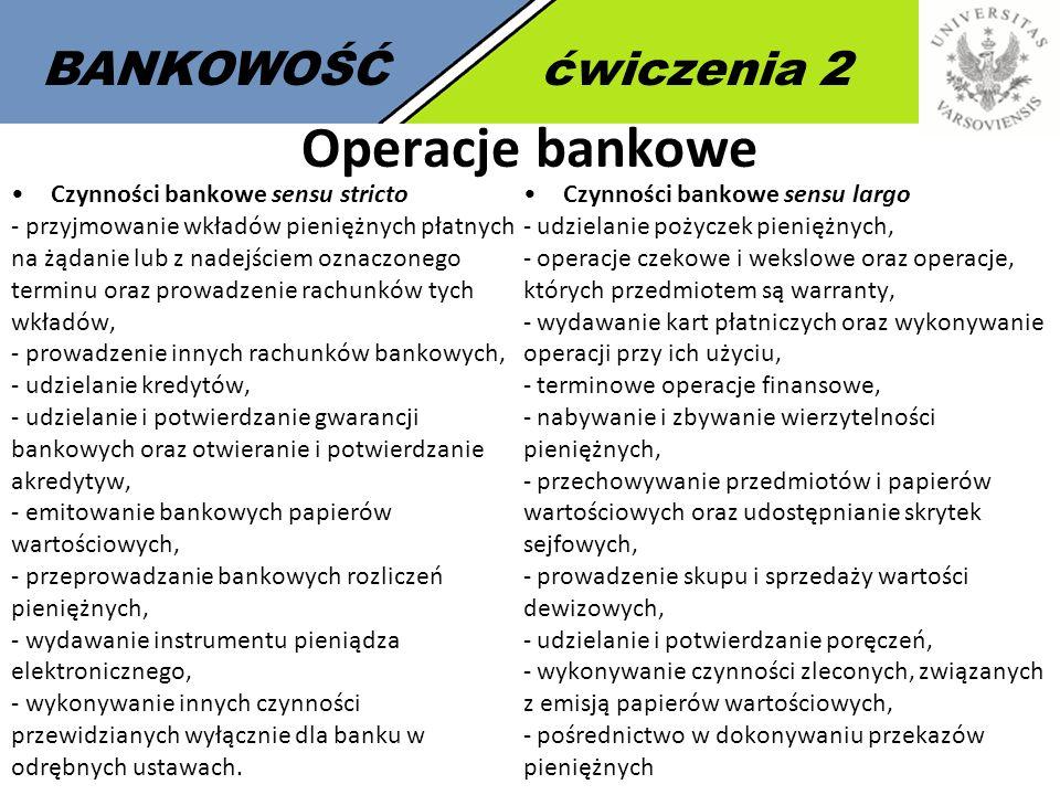 Operacje bankowe BANKOWOŚĆ ćwiczenia 2 Czynności bankowe sensu stricto