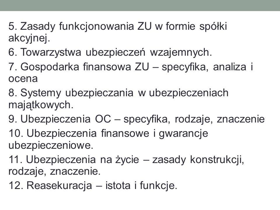5. Zasady funkcjonowania ZU w formie spółki akcyjnej. 6