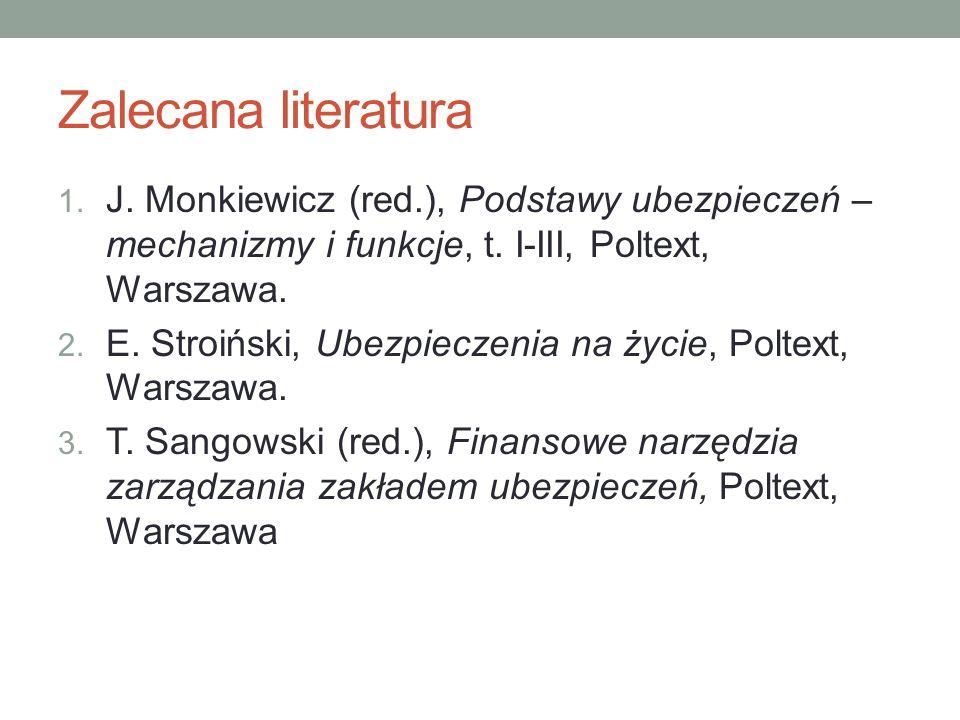 Zalecana literatura J. Monkiewicz (red.), Podstawy ubezpieczeń – mechanizmy i funkcje, t. I-III, Poltext, Warszawa.
