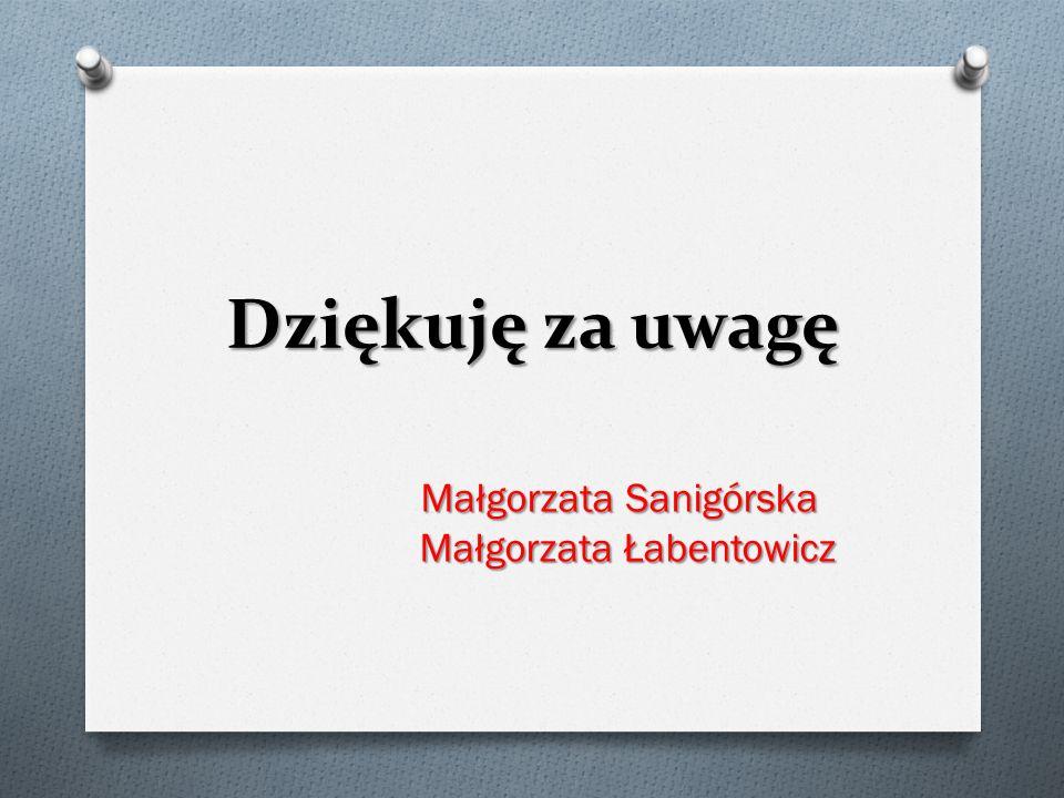Dziękuję za uwagę Małgorzata Sanigórska Małgorzata Łabentowicz