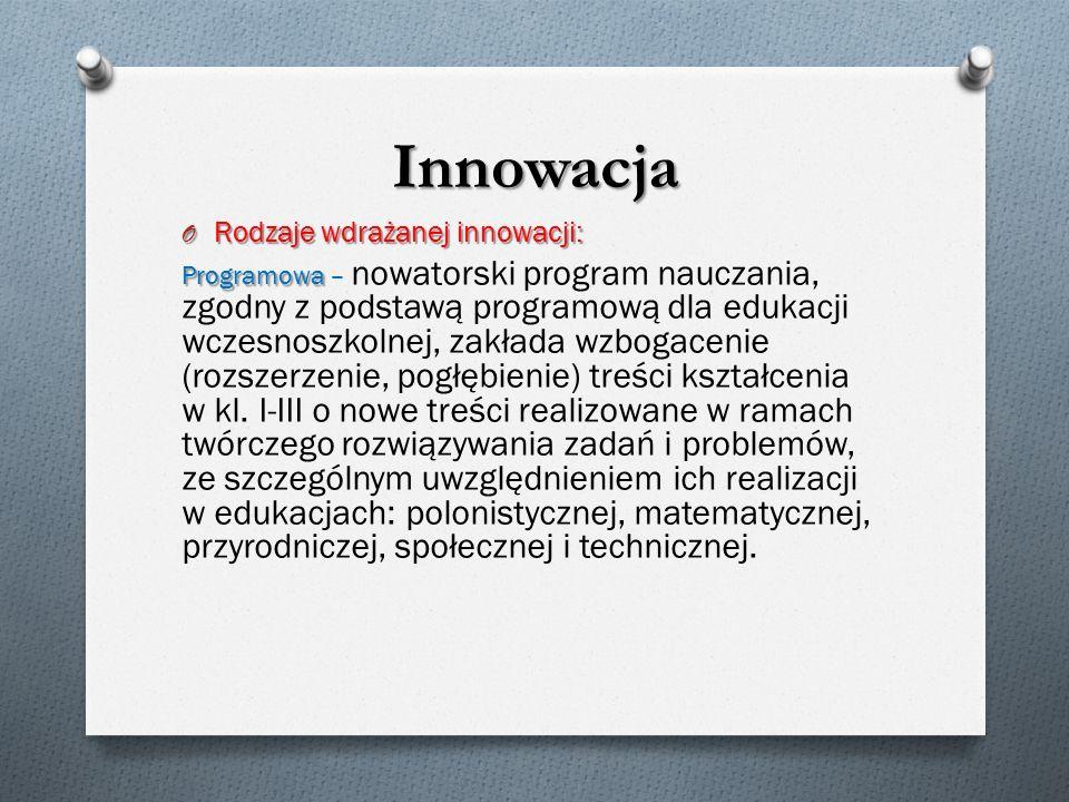 Innowacja Rodzaje wdrażanej innowacji: