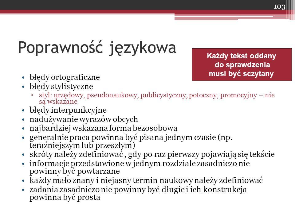 Poprawność językowa błędy ortograficzne błędy stylistyczne