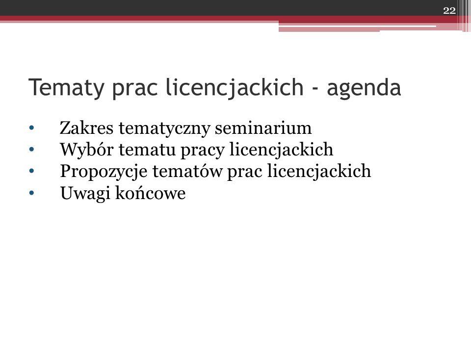 Tematy prac licencjackich - agenda