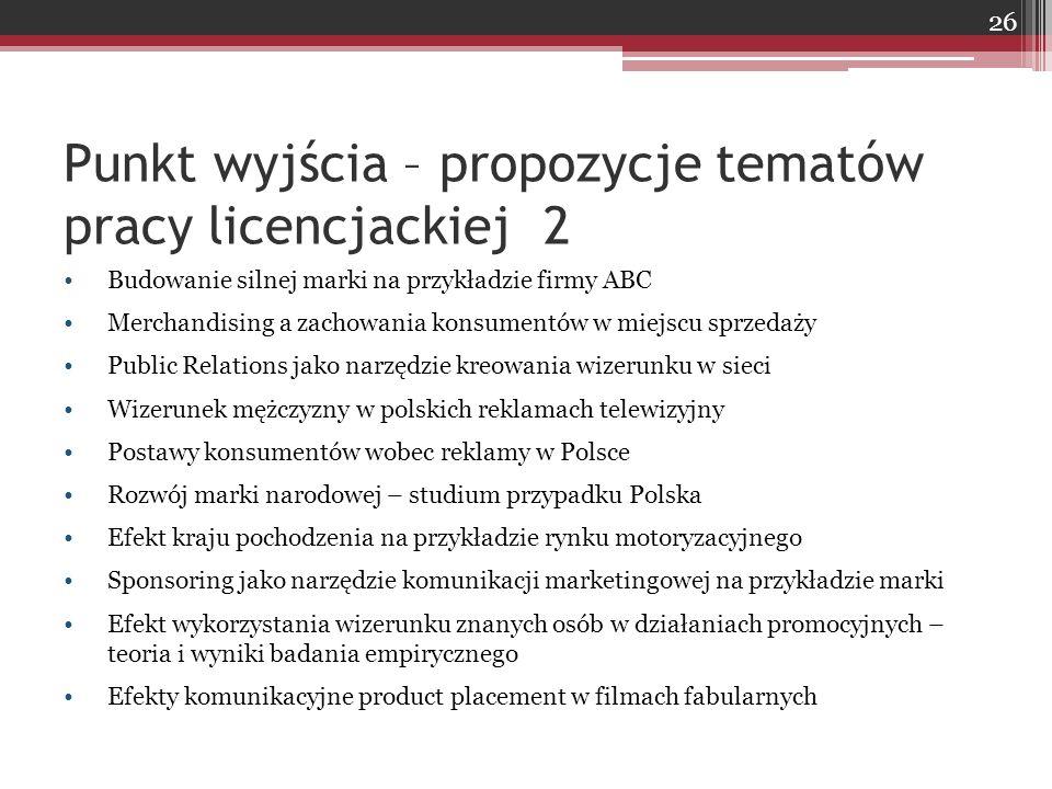 Punkt wyjścia – propozycje tematów pracy licencjackiej 2