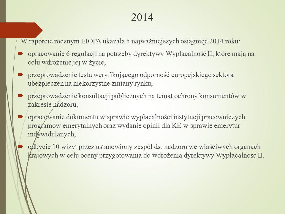 2014 W raporcie rocznym EIOPA ukazała 5 najważniejszych osiągnięć 2014 roku:
