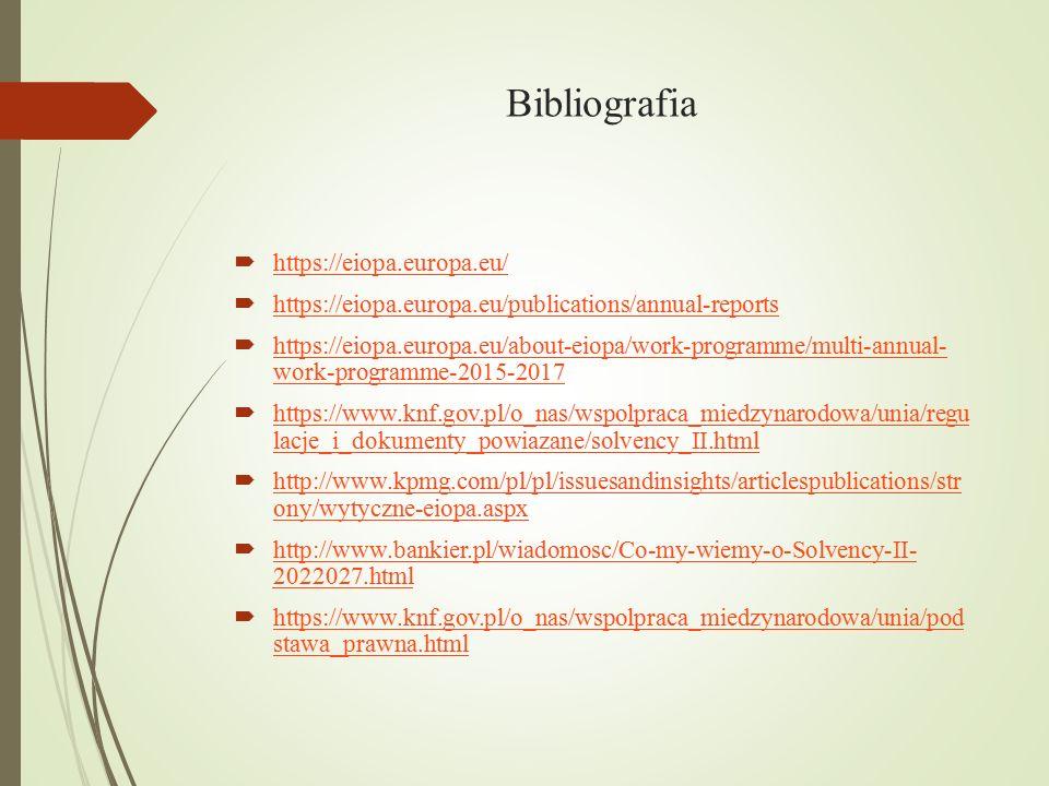 Bibliografia https://eiopa.europa.eu/