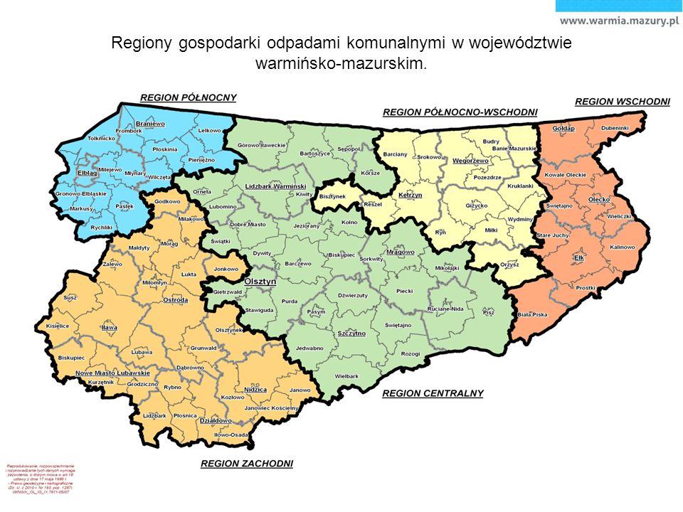 Regiony gospodarki odpadami komunalnymi w województwie warmińsko-mazurskim.